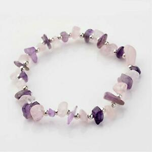 Amethyst Rose Quartz Bracelet Crystal Gemstone Reiki Healing Chakra Anxiety UK