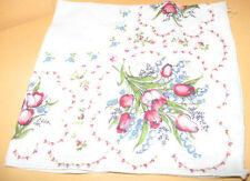 """Vintage HANDKERCHIEF floral flowers 11 3/4"""" x 11 3/4"""" square"""