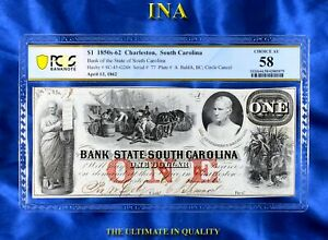 INA Bank of the State of South Carolina $1 PCGS Choice AU 58 Finest Certified