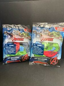 """Set of 2 6 Ctn Marvel Avengers Assemble Balloons 12"""" Assorted Color Balloons NEW"""