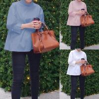 UK Ladies Victorian Shirt High Neck 3/4 Sleeve Women Office Blouse Top Size 8-26