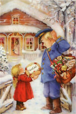 Lisi MARTIN ~ LITTLE GIRL Happy New Year, Postman XMAS Russia Modern postcard