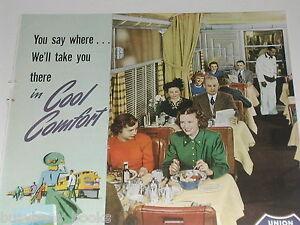 1950 Union Pacific Railroad advertisement, UP RR dining car, color photo
