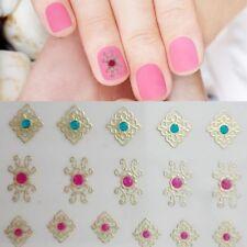 Nagelsticker mit Juwelen Nailart Tattoo Nagelaufkleber Selbstklebend Gold 12