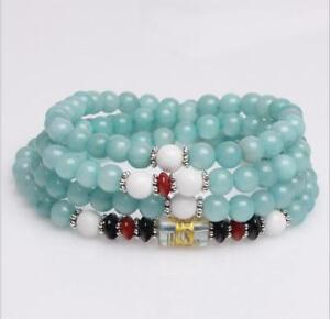 6mm stone Buddhist Natural Aquamarine 108 Prayer Beads Mala Bracelet