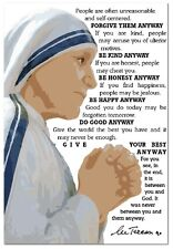 MOTHER THERESA INSPIRATIONAL BE & DO GOOD ANYWAY QUOTE POSTER ART PRINT 13X19