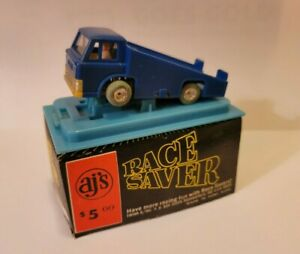 AJ'S RACE SAVER BLUE FLATBED TRUCK TRACK CLEANER SLOT CAR COLLECTIBLE USED