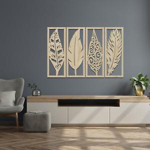 0124 Beautiful 4 Panel Feather Wall Hanging Art Home Decor Wooden MDF Ash Oak