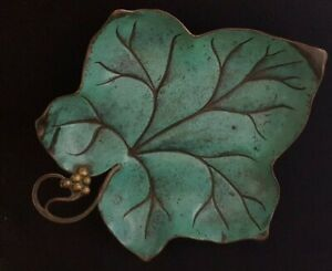 WMF IKORA green fused enamel on copper leaf dish