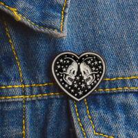Punk Enamel Heart Skull Brooch Pins Shirt Collar Pin Breastpin Jewelry Gift jf