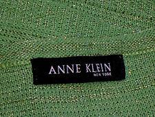 """ANNE KLEIN,NY MetallicLightGreenOpenKnitS/sVneckSize36"""""""