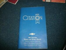 1982 Chevrolet Citation Factory Original Owners Operators Manual Book