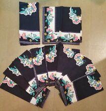 VTG BLOOMINGDALE'S 100% Cotton Black Floral DINNER NAPKINS Set of 11 India Print