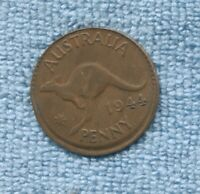 1944 one Penny  Coin Australia Error Mis Strike  J-68