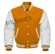 Varsity Superb Baseball Yellow wool and Genuine White Leather Sleeves Jacket