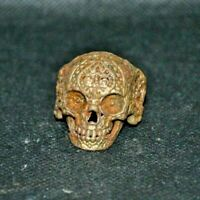 Very Rare Unique Antique Viking Memento Mori Bronze Ring Skull Runic Ornament