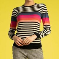 Trina Turk Striped 100% Merino Wool Colette Sweater Womens Size M Rainbow Black