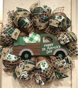 "FARMHOUSE ST PATRICK'S DAY 🍀 Wreath BURLAP Deco Mesh VINTAGE TRUCK 22"" x 22"""