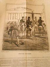 Litho Caricature 1869 - Jeux de Patience Le Manège aux Chevaux