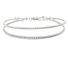 Silver Double Bar Rhinestone Choker Necklace Plated Austrian Crystal Elements