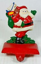 VTG Cast Iron Christmas Stocking Holder Hand Painted Vintage Santa Claus Midwest