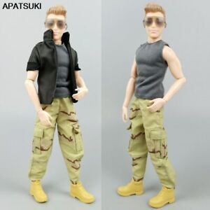 1/6 Boy Doll Clothes For Ken Outfits Grey Vest Tank & Camouflage Trousers Pants