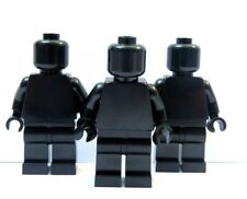 Lego 3 Minifigure Figura Cuerpo Cabeza Negro Liso Piernas Soldado Ejército Halloween