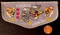 TUKARICA LODGE 266 OA ORE-IDA COUNCIL PATCH 1967-1992 25TH ANN COUGAR FLAP SMY