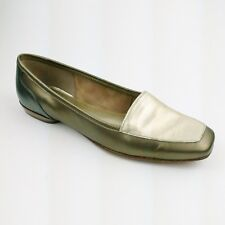 Antoni Melani Plaza Size 6.5 M Womens Gold Leather Flats Square Toe Glove Fit