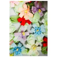 """Charmed 100 Silk Ribbon 5 Petal Flowers 1"""" for Applique Arts Craft Mixed Colors"""