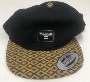 Billabong Snapback Hat Cap Black & Mustard, One Size, Like New Adjustable
