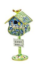 Kelvin Chen Enamel Copper Handpainted Miniature Birdhouse Open Box - Iris