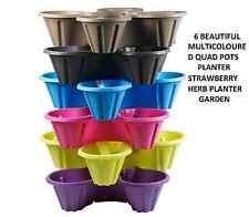 Lot de 6 x Multicolore Quad pots planteur, belle Plastique Plant Pots