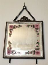 Vintage Metal Ornate Mirror Pink Roses & White Pearls Hand Painted by Lia