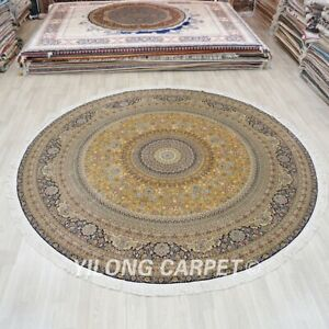 10'x10' Round Oversized Handmade Silk Carpet Gold Home Interior Area Rug TJ157A