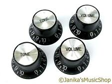 4 electric guitar black top hat knobs with silver top volume tone LP type UK New