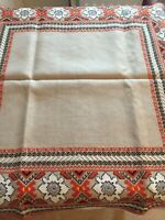 Vintage Unusual Linen, Hand Embroidered Table cover in perfect condition Unused/