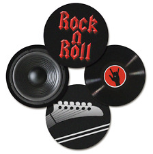"""Classic ROCK n ROLL Music Instrument - Drink Coaster Set - Drink Coasters 3.5"""""""
