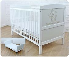 New White Wodden Baby Cot Bed 120 x 60 cm /mattress/ teething rails - RRP £149