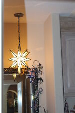 """Moravian star -18"""" frosted or clear gass star 26 point antique trim"""