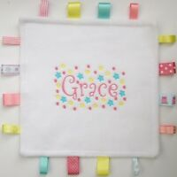 Designer TAGGY Comfort Blanket, Personalised with Any Name, Unique New Baby Gift