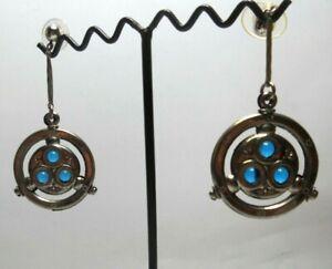 Art Deco Ohrringe von Jakob Bengel  - Chrom und petrolfarbigem Glas , Stecker