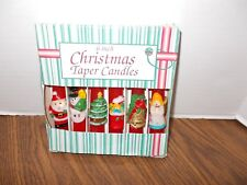 Vintage 6 Inch Christmas Taper Candles Hand Painted 6 Pc. with Box Great Shape
