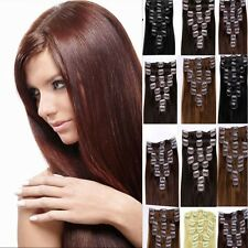 """Full Head 15"""" 20"""" 22"""" 24"""" 26"""" Clip in 100% Remy Real Human Hair Extensions AAA++"""