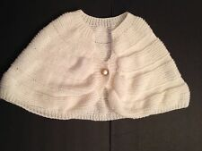 Vintage Women Knitted Shawl Cape Wrap White Size Small Medium