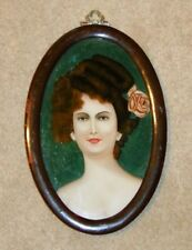 VICTORIAN Antique REVERSE PAINTING on GLASS of YOUNG WOMAN Oval Wood Frame 12""
