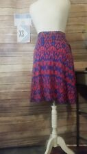 New LuLaRoe Xsmall Geometric Print Azure Skirt in Royal Blue and Red Retaail $35