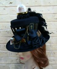 Unique Black Caged Style Steampunk Gothic Top Hat Feathers Skull Coffin (ZZ)