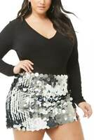 Forever 21 Plus Size Silver Sequin Mini Skirt 0X/2X/3X