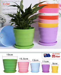 AU STOCK 5 x SETS PLANT POT WITH TRAYS SET SUCCULENT FLOWER RESIN POTS  011